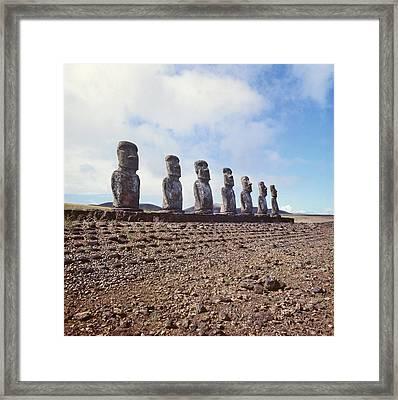 Monolithic Statues On Ahu Akivi Framed Print