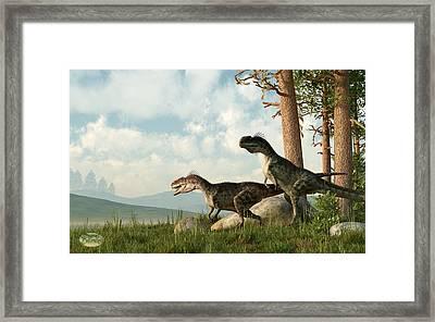 Monolophosaurs On The Hunt Framed Print by Daniel Eskridge