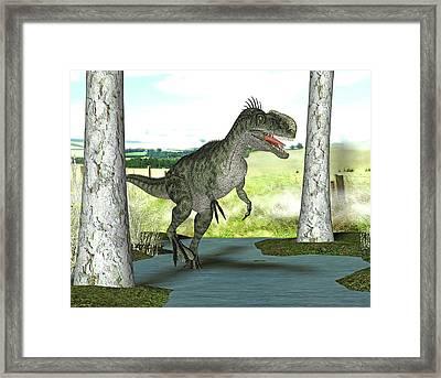 Monolophosaurus Dinosaur Framed Print by Friedrich Saurer