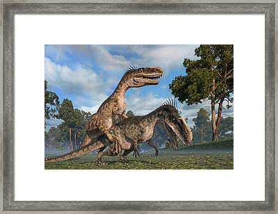 Monolophosaurus Dinosaurs Mating Framed Print