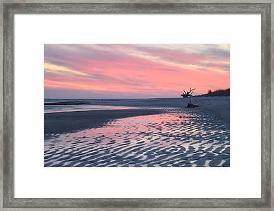 Monomoy National Wildlife Refuge Cape Cod Tidal Flats Sunset Framed Print by John Burk