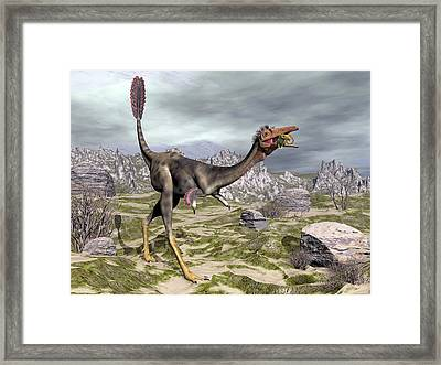 Mononykus Dinosaur Eating A Lizard Framed Print by Elena Duvernay