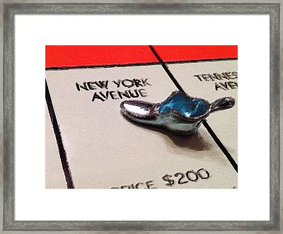 Monopoly Board Custom Painting New York Avenue Framed Print