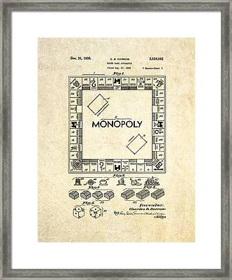 Monopoly Board Game Patent Art Framed Print