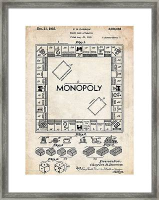 Monopoly Game Patent Art Framed Print