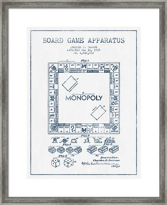 Monopoly Patent From 1935 - Blue Ink Framed Print by Aged Pixel