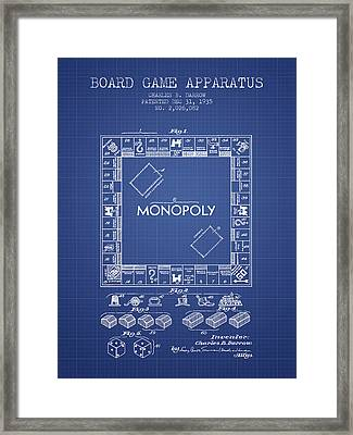 Monopoly Patent From 1935 - Blueprint Framed Print by Aged Pixel