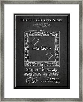 Monopoly Patent From 1935 - Dark Framed Print by Aged Pixel