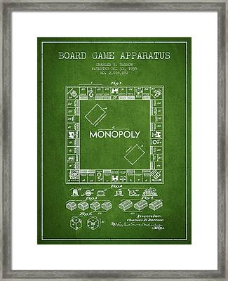 Monopoly Patent From 1935 - Green Framed Print by Aged Pixel
