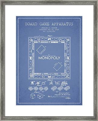 Monopoly Patent From 1935 - Light Blue Framed Print by Aged Pixel