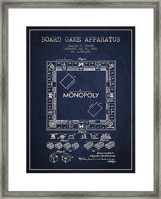 Monopoly Patent From 1935 - Navy Blue Framed Print by Aged Pixel