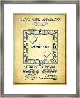 Monopoly Patent From 1935 - Vintage Framed Print by Aged Pixel