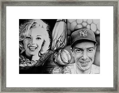 Framed Print featuring the drawing Monroe And Dimaggio by Geni Gorani