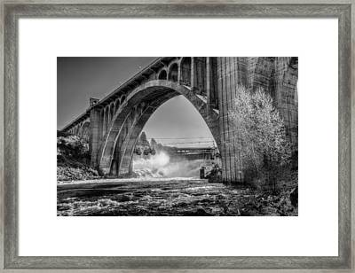 Monroe St. Bridge And Falls Framed Print