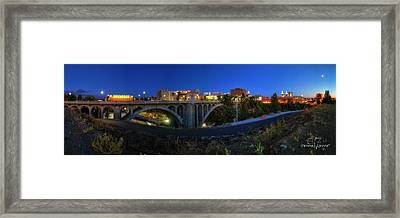 Monroe Street Bridge Panorama Framed Print by Dan Quam