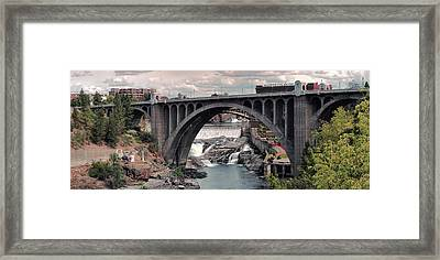 Monroe Street Bridge Panorama - Spokane Framed Print