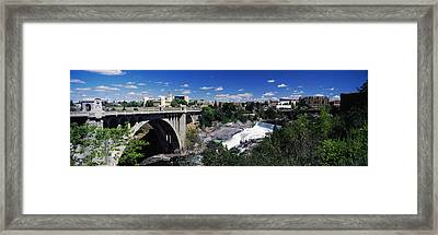 Monroe Street Bridge With City Framed Print by Panoramic Images