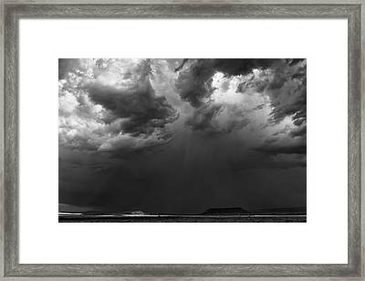 Monsoon Afternoon - Black And White New Mexico Desert Photograph Framed Print