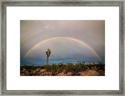 Monsoon Double Rainbow Framed Print by Erica Hanks