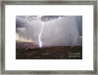 Framed Print featuring the photograph Monsoon Lightning Hits Clarkdale Arizona As Seen From Jerome by Ron Chilston