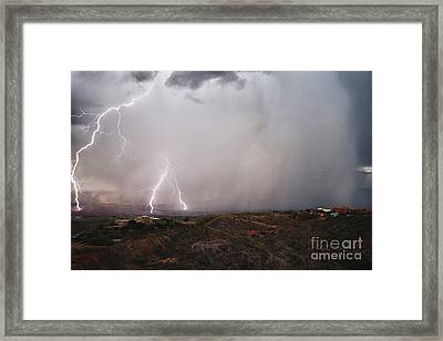 Framed Print featuring the photograph Monsoon Lightning Storm Over The Jerome State Park In The Verde Valley Arizona by Ron Chilston