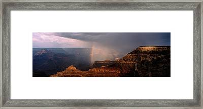 Monsoon Storm With Rainbow Passing Framed Print
