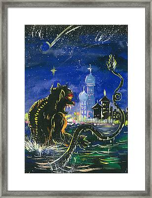 Monster In The City Framed Print by Amberlyn How
