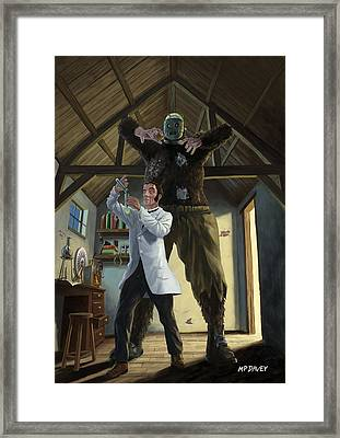 Monster In Victorian Science Laboratory Framed Print by Martin Davey