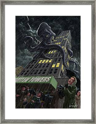 Monster Octopus Attacking Building In Storm Framed Print by Martin Davey