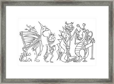 Monster  Queue Framed Print