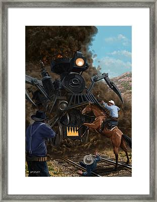Monster Train Attacking Cowboys Framed Print by Martin Davey