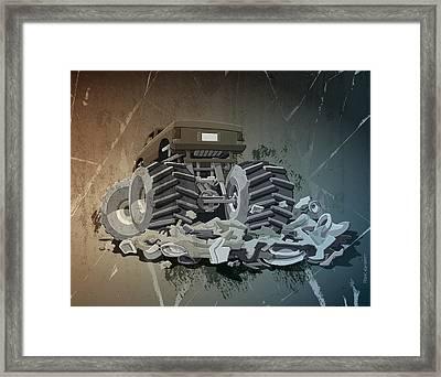 Monster Truck Grunge Framed Print by Frank Ramspott