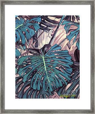Monstera Blues Framed Print by DK Nagano