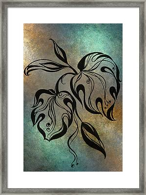 Monstera Leaf. Blue Framed Print by Jenny Rainbow