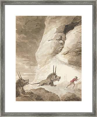 Monsters Chasing A Man Framed Print by George Dance