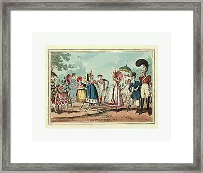 Monstrosities Of 1818, Engraving 1818, Unusual Clothing Framed Print by English School