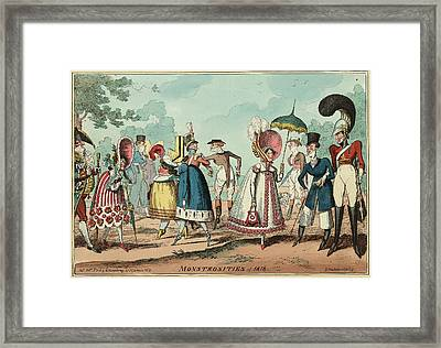 Monstrosities Of 1818, Engraving 1818, Unusual Clothing Framed Print by Litz Collection