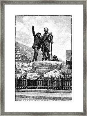Mont Blanc First Ascent Monument Framed Print by Science Photo Library