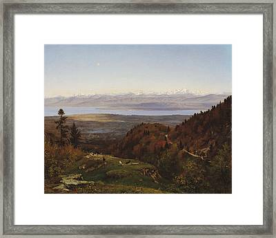 Mont-blanc Seen From Saint-cergues, 1869 Framed Print by Francois Louis Francais