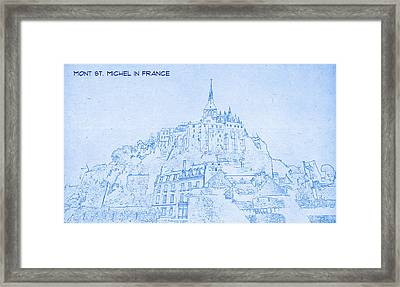 Mont St Michel In France  - Blueprint Drawing Framed Print by MotionAge Designs