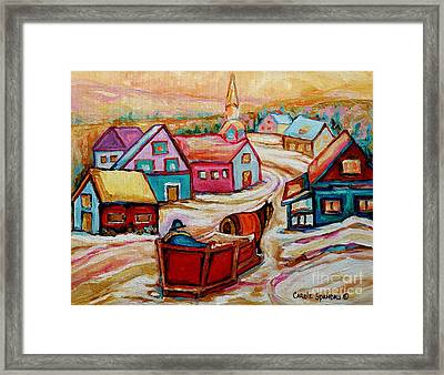 Mont St.hilaire Going Towards The Village Quebec Winter Landscape Paintings Carole Spandau Framed Print