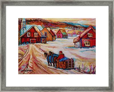 Mont St.hilaire Winter Scene Logger Heading Home To Quebec Village Winter Landscape Carole Spandau Framed Print