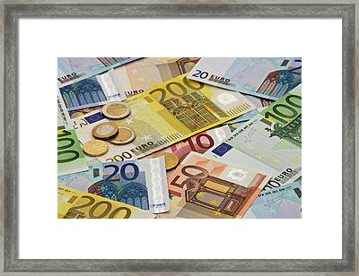 Montage Mix Of European Paper And Coin Framed Print