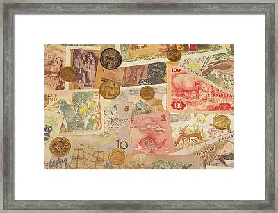 Montage Of Coins And Paper Money Framed Print