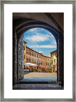 Montalcino Loggia Framed Print by Inge Johnsson