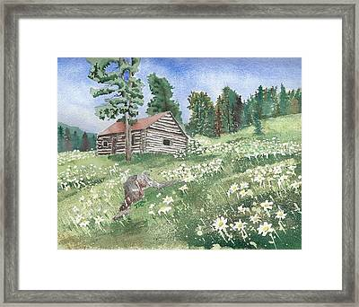 Montana Cabin Framed Print by Tammy Crawford