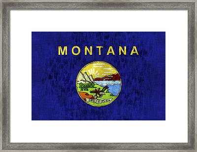 Montana Flag Framed Print by World Art Prints And Designs