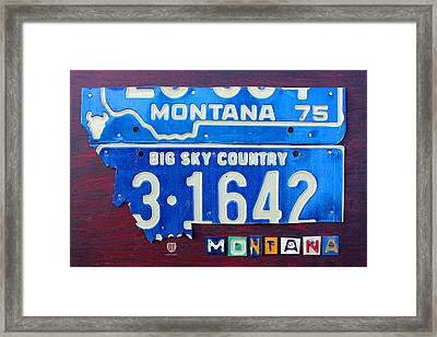 Montana License Plate Map Framed Print by Design Turnpike