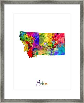Montana Map Framed Print by Michael Tompsett