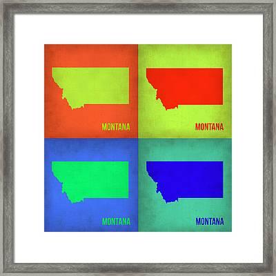 Montana Pop Art Map 1 Framed Print by Naxart Studio